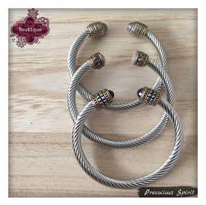Jewelry - Set of 3 cable twisted cable gem cuff bracelets